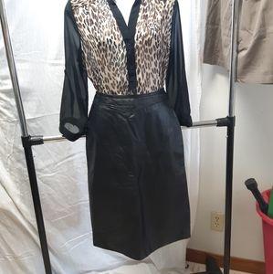 Vintage 1990's PELLE CUIR leather pencil skirt